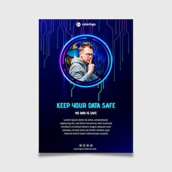 Шаблон флаера по кибербезопасности с фотографией