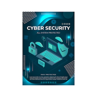 Cyber security flyer template