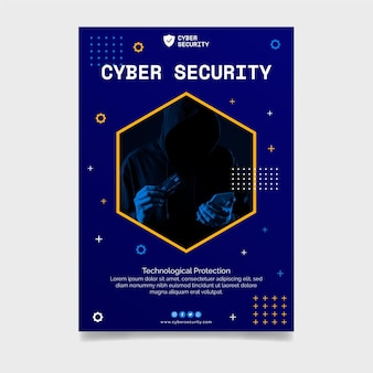 Cyber security flyer template Free Vector