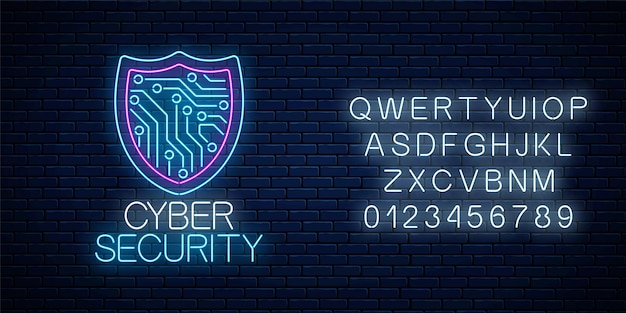 Cyber security glowing neon sign with alphabet on dark brick wall