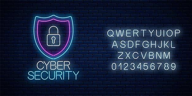 Кибербезопасность светящийся неоновый знак с алфавитом на фоне темной кирпичной стены. символ защиты интернета с щитом и замком. векторная иллюстрация.