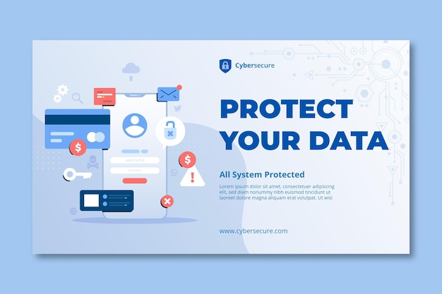 Cyber security horizontal banner template