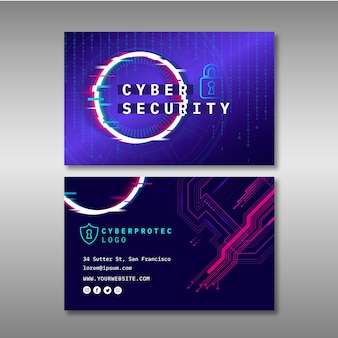 Cyber security horizontal business card template
