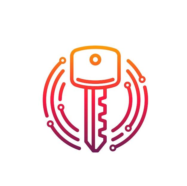 Ключ значка кибербезопасности внутри круга микросхемы. векторная эмблема тема интернет-безопасности, защита информации и данных, предотвращение хакерских атак. элемент дизайна, изолированные на белом фоне