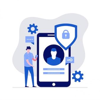 문자로 사이버 보안 그림 개념입니다. 데이터 보안, 보호 된 액세스 제어, 개인 정보 데이터 보호.