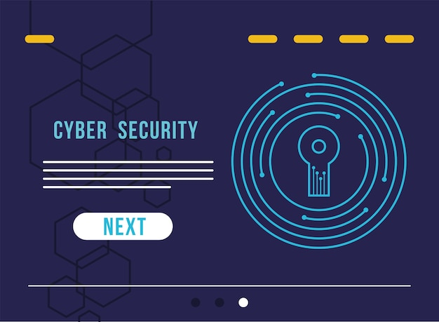Cyber security infographic with key hole in circuit illustration design