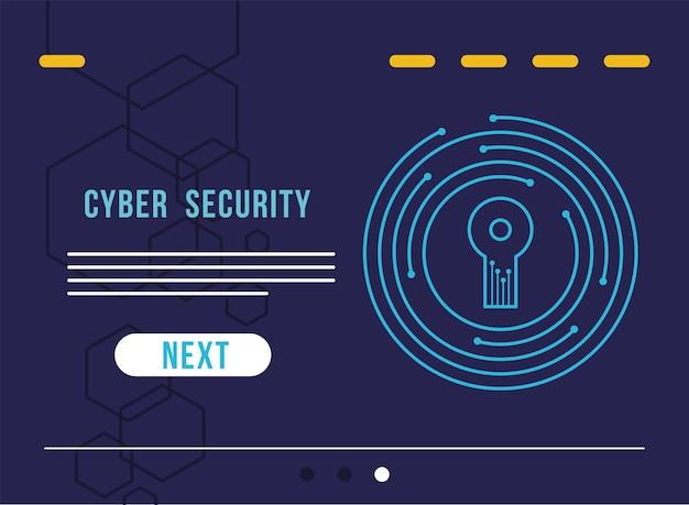 回路イラストデザインの鍵穴とサイバーセキュリティのインフォグラフィック