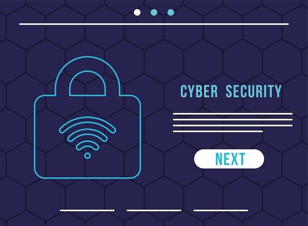 자물쇠 일러스트 디자인에 와이파이 파도와 사이버 보안 인포 그래픽