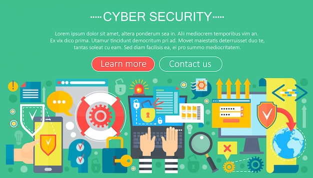 Cyber security infographics template design