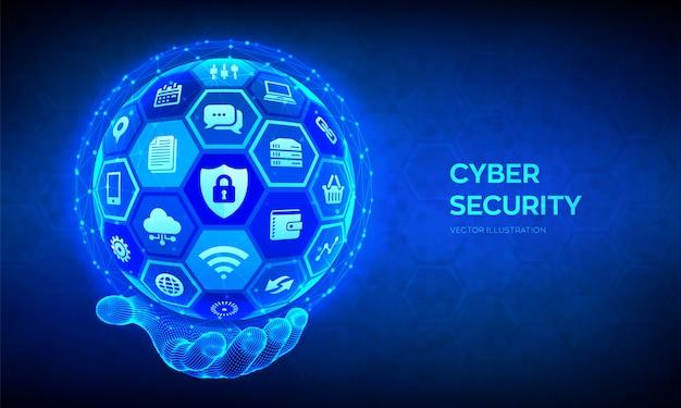 Кибер-безопасности. защита информации и концепция безопасности. абстрактная сфера с поверхностью шестиугольников с s в каркасной руке.