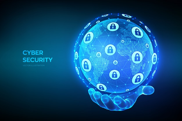 Cyber security. information protect and security of safe concept. world map point and line composition. earth globe in hand.
