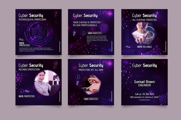 Cyber security instagram post template