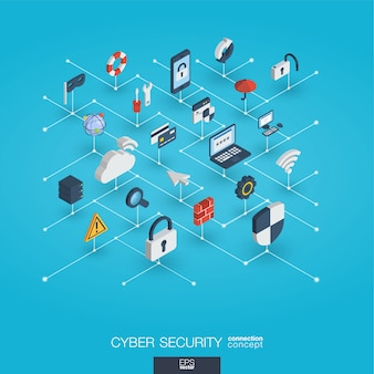 Cyber security integrated 3d web icons. digital network isometric interact concept.