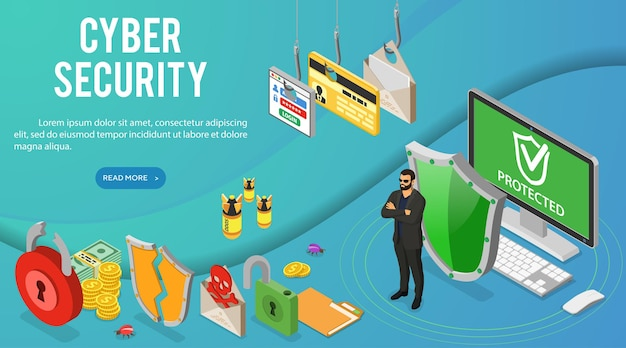 Cyber security isometric banner. hacking and phishing. guard protects computer from hacker attacks like steals password, credit card and email.