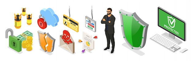 Cyber security isometric banner. hacking and phishing. guard protects computer from hacker attacks like steals password, credit card and spam. internet security vector with isometric icons people