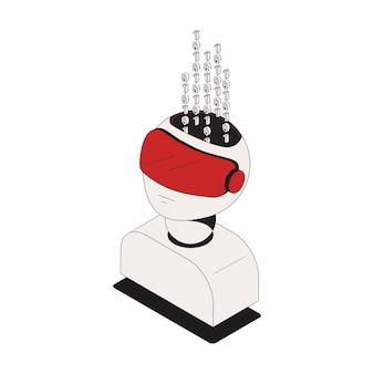 Icona isometrica di sicurezza informatica con codice binario nell'illustrazione 3d della testa dei caratteri