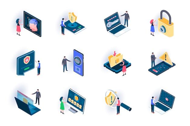 사이버 보안 아이소 메트릭 아이콘 설정합니다. 정보 평면 그림의 보안. 인터넷 개인 정보 보호, 암호 액세스, 방화벽 및 식별 사람들이 문자로 3d 등거리 변환 그림.