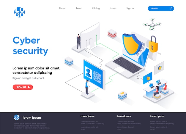 Cyber security isometric landing page template