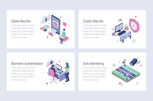Cyber security isometric vector illustrations
