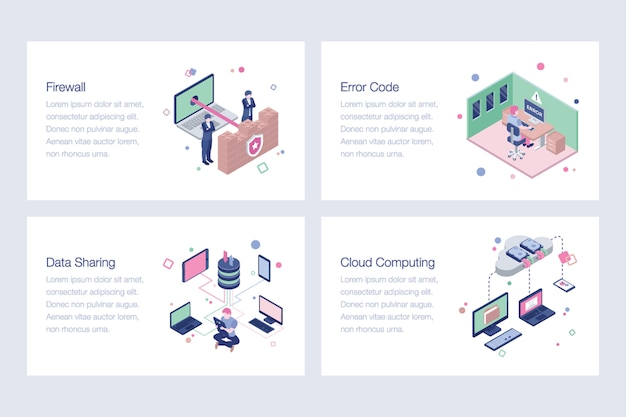 Cyber security isometric vectors set
