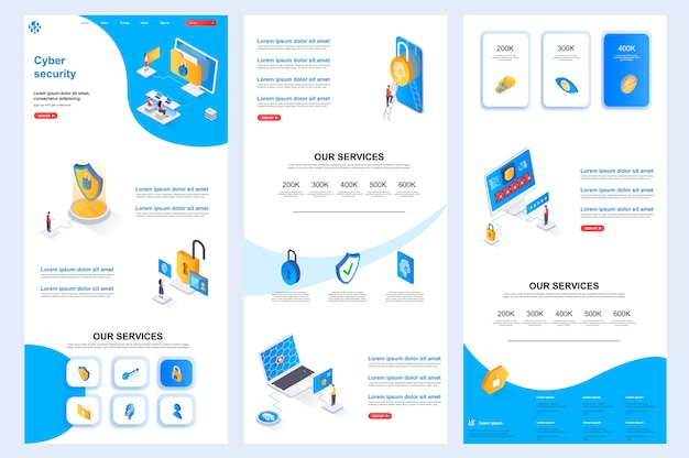 Cyber security isometric website template landing page middle content and footer