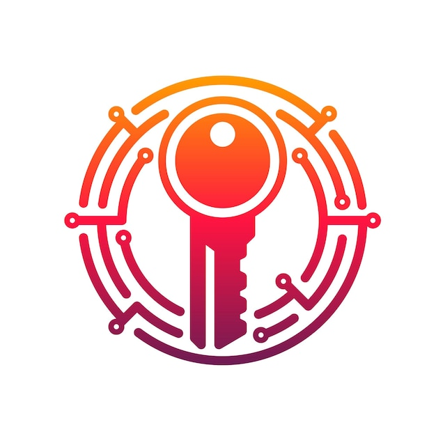 Cyber security key icon of network data secure