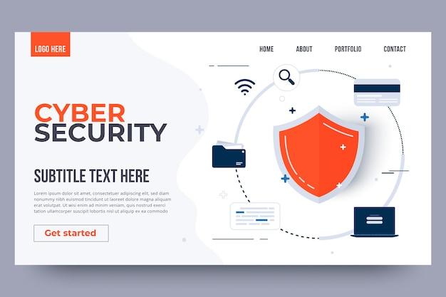 Cyber security landing page template. cyber security concept.