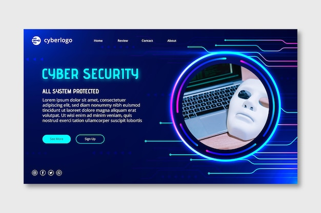 Modello di pagina di destinazione della sicurezza informatica con foto
