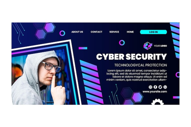 Cyber security landing page template