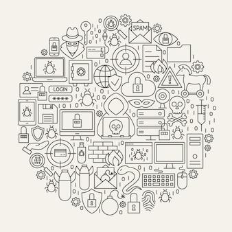 サイバーセキュリティラインアイコンサークル。ハッカーのアウトラインオブジェクトのベクトルイラスト。