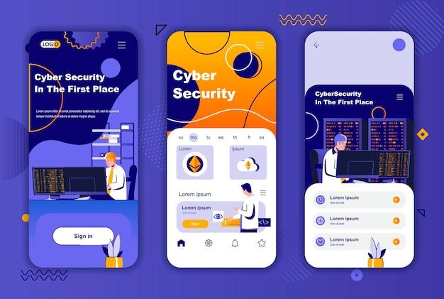 소셜 네트워크 스토리를위한 사이버 보안 모바일 앱 화면 템플릿
