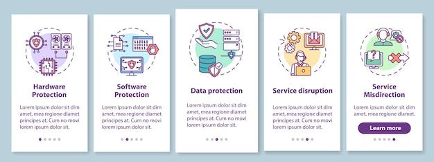개념이있는 사이버 보안 온 보딩 모바일 앱 페이지 화면