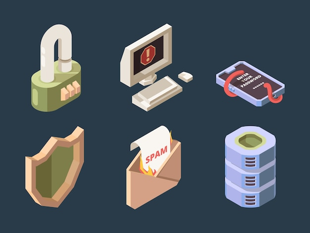 サイバーセキュリティ。オンラインddosハッカー攻撃スパムボットウイルスフィッシングネットワークデジタルデータ保護ベクトル等尺性。フィッシングと保護を再びウイルスとスパムの図