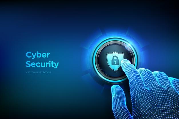 サイバーセキュリティ。保護し、安全なコンセプト。セキュリティシールドの記号が付いたボタンを押しようとしている指をクローズアップ。