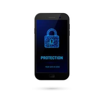 サイバーセキュリティ保護システムのコンセプトです。データ保護。画面にデジタル南京錠付き携帯電話。