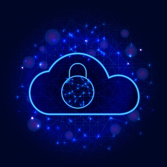 Cyber security. secure cloud data storage technology design with padlock abstract background