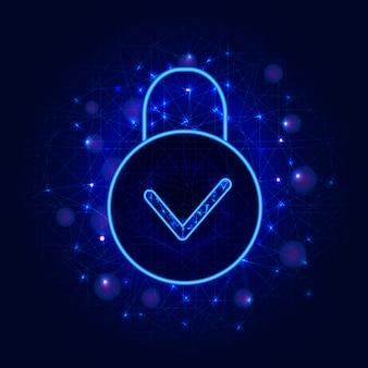 サイバーセキュリティ。抽象的な背景に南京錠で安全なオンラインクラウドデータストレージ設計