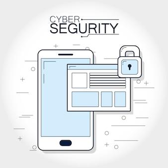Концепция блокировки смартфона с кибербезопасностью