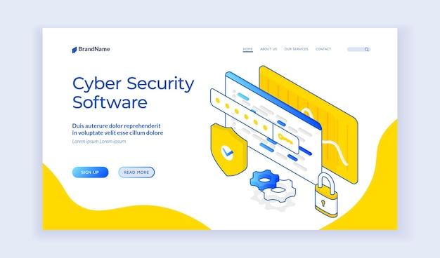 サイバーセキュリティソフトウェア。サイバーセキュリティ用のアプリに関する情報を提供するwebページのシールドと保護標識の等角アイコン。 webバナー、ランディングページテンプレート