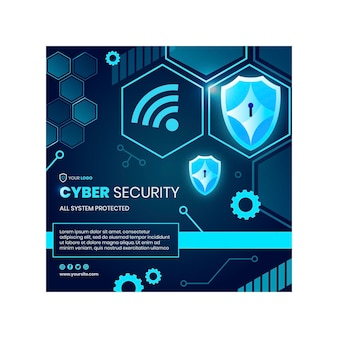 Шаблон квадратного флаера кибербезопасности