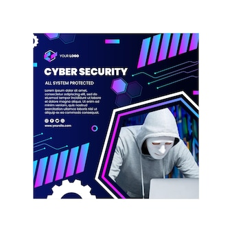 Cyber security square flyer template