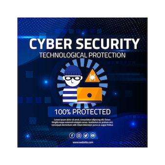 Cyber security square flyer