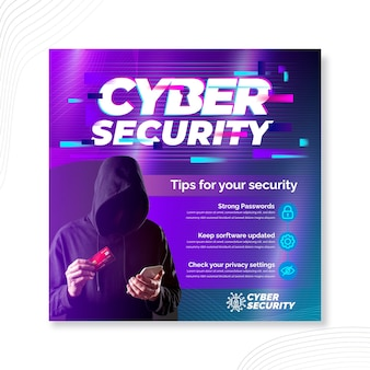 Cyber security squared flyer template