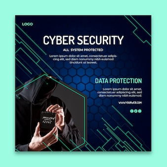 사이버 보안 제곱 된 전단지 서식 파일