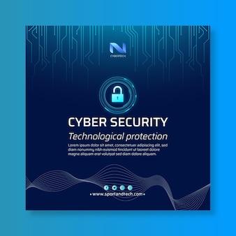 Шаблон флаера в квадрате кибербезопасности