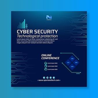 Квадратный флаер кибербезопасности