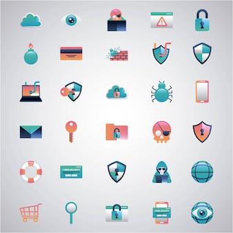 サイバーセキュリティステッカーツール安全危険保護ハッカーコンピュータ