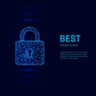 サイバーセキュリティシステムの概念。個人データのセキュリティ。南京錠を閉じた。