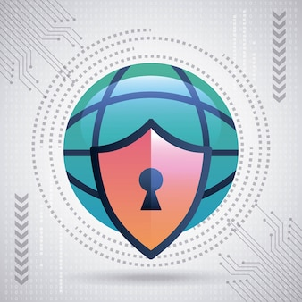 Cyber security technology big world shield protection binary circuit