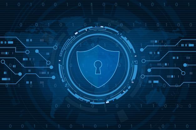 サイバーセキュリティ技術コンセプト、世界地図、個人データ、イラストの鍵穴アイコンとシールド